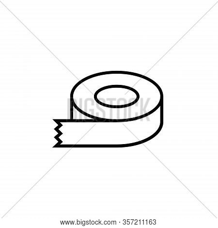 Sticky Tape Line Vector Icon. Dispenser Drawing Flat Scotch Label Adhesive Tape Roll