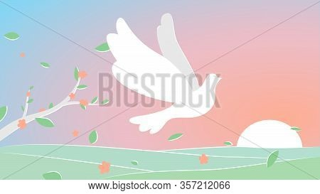 Vector Illustration Of A Dove Of Peace Flying On A Beautiful Landscape Among The Leaves. Concept Dra