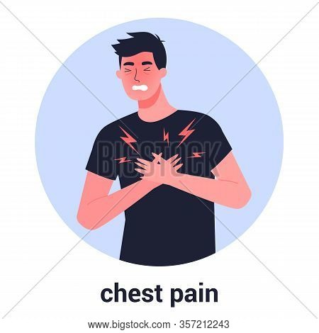 Man Feel Chest Pain. Heart Attack Or Symptoms Of Heart Disease.