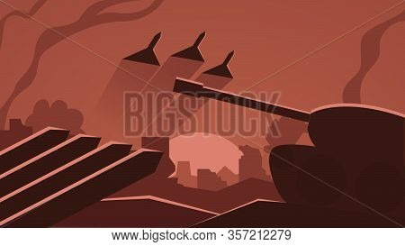 Vector Illustration Of A War Scene, Battleground. Battlefield Drawing With A Tank, Fighter Jets, Com