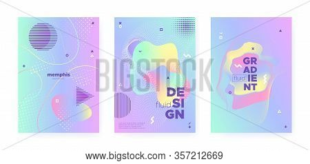 Rainbow Pastel Poster. Abstract Gradient Background. Liquid Design. Hologram Pattern. Blue Pastel Sh