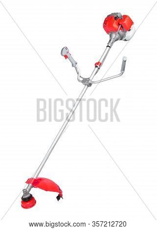 New Modern Red String Trimmer With Gasoline-engine Isolated On White Background. Vertical Shot.