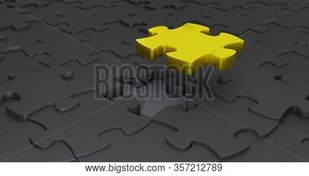 Final Gold Puzzle Piece . Dark Background. Finish The Puzzle. 3d Illustration. Stand Out From The Cr