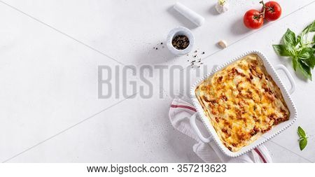 Italian Restaurant Banner. Lasagna With Vegetables, Minced Meat, Cheese Bolognese And Bechamel Sauce