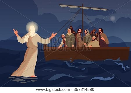 Bible Narratives About Jesus Walking On Water. The Disciples Saw Jesus