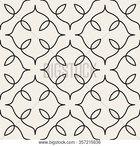 Arabic Seamless Ornament. Abstract Background. Curved Elegant Lines And Scrolls Forming Abstract Flo