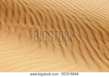 Desert Sand Dunes, Sand Waves On Cerro Blanco Sand Dune, The Highest Dunes On The World, Located Nea