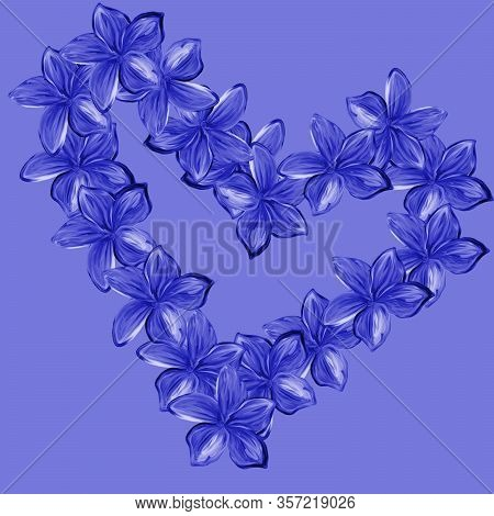 Pink With Blue Frangipani Plumeria Flowers In Shape Of Heart On Blue Background.valentine Card. Moth