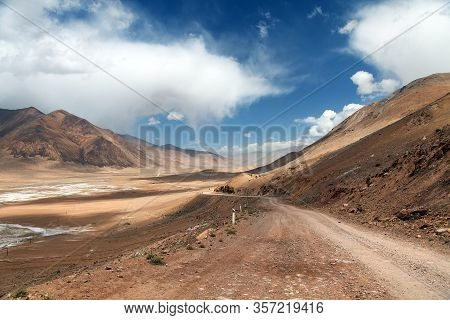 Pamir Highway Or Pamirskij Trakt Unpaved Road In Tajikistan