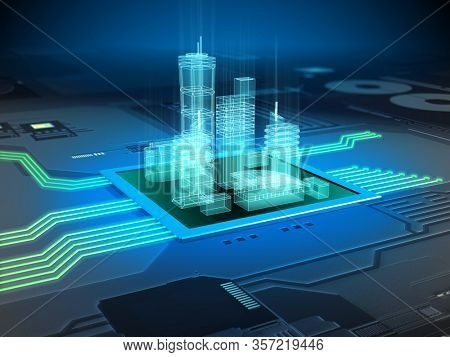 Modern city buildings on a printed circuits board. 3D illustration.