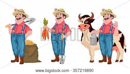 Farmer Cartoon Character, Set Of Three Poses. Cheerful Farmer With Shovel And Bag Of Potatoes, With