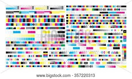 Cmyk Print Test Control Scales. Vector Set Color Bar Cmyk And Test Chart Offset. Print Control Strip