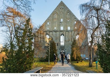 Tallinn, Estonia - 01.05.20: The Preserved Facade Of The Main Church Of The Catholic Convent Of The