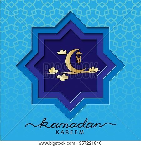 Ramadzan Blue Square Vector Card. Template With Lantern, Crescent, Moon, Clouds. Vector Papercut Car