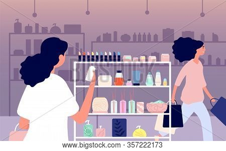 Cosmetics Shop. Eco Skincare, Nature Product Makeup. Woman Choose Beauty And Skin Caring Products. B