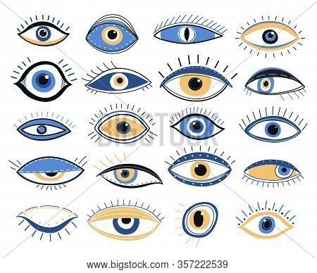 Evil Eye. Graphic Eyes Elements, Traditional Energy Talismans. Magic Looking Amulet, Decorative Alch