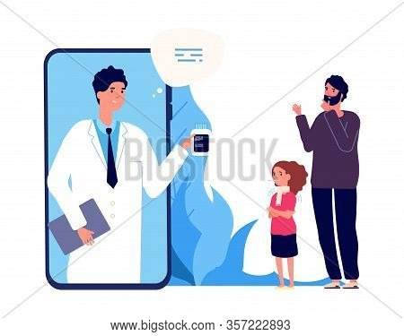 Doctor Online. Sick Girl, Father And Nurse By Video Link. Remote Treatment, Medical Consultation Vec