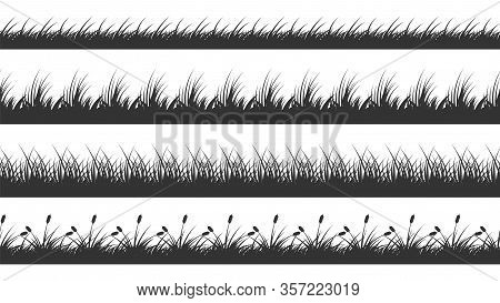 Grass Border. Planted Meadow Silhouette Background. Isolated Horizontal Lawn Dividers. Growth Plants