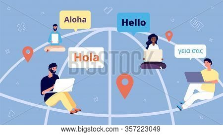 International Online Chat. People Communicate Over Internet. Remote Business Team, World Wide Web An