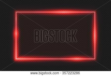 Red Neon Frame. Lighting Banner On Transparent Background. Isolated Glow Border Vector Illustration.