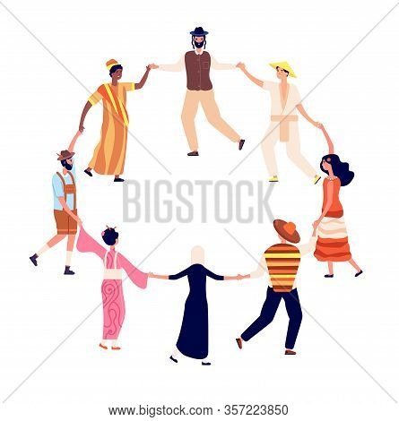 People Round Dance. Adults Friends Circle In Dancing. Friendship, Humans Hold Hand. Men Women Togeth