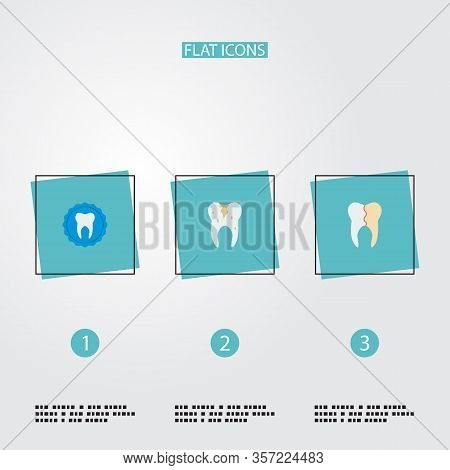 Set Of Dental Icons Flat Style Symbols With Caries, Stamp, Reconstruction And Other Icons For Your W