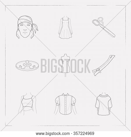 Set Of Clothes Icons Line Style Symbols With Crown, Low Bias Roll, Bandanna Icons For Your Web Mobil