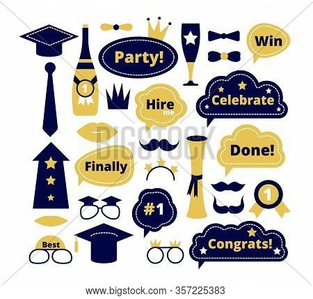 Graduation Photo Booth. School Party Props. Graduate Funny Sticker, Speech Bubbles. Isolated Selfie