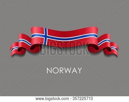 Norwegian Flag Wavy Ribbon Background. Vector Illustration.