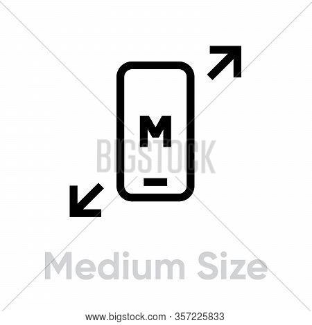 Tech Specs Medium Size Phone Icon. Editable Vector Outline.
