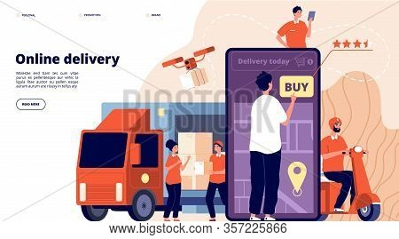 Online Delivery. Ecommerce Promote, Fast Service Supply. Courier On Bike, Smart Logistic Truck. Male