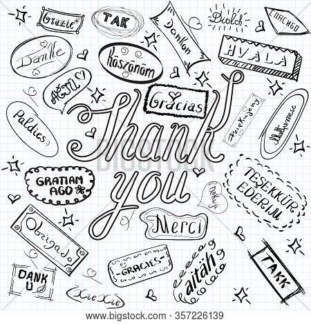 Set Of Thank You Words In Different Languages, Vector Illustration With Hand Written Thank You Word