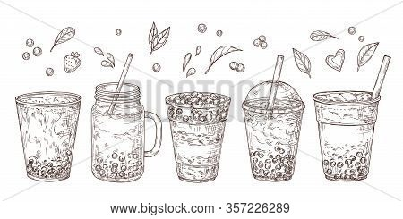 Bubble Tea. Sketch Summer Drink, Flavored Teas Graphic. Isolated Delicious Asian Cold Milk Dessert.