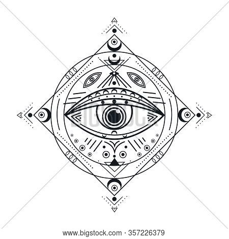 All Seeing Eye. Black Illuminati Symbol, Providence Eyed Emblem. Isolated Vintage Protection Occult