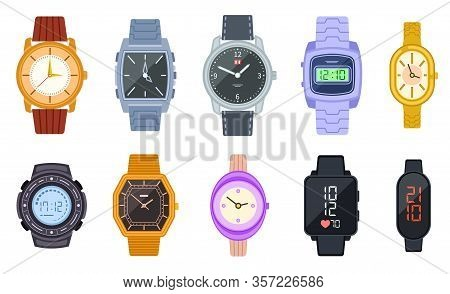 Wristwatch. Female Digital Smart Clock. Isolated Woman Man Elegant Watches With Fashion Bracelets. F
