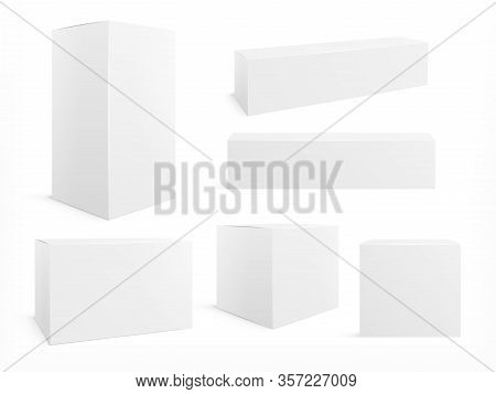 Packaging Box. White Boxes Pack, 3d Packages For Products. Isolated Medical Cardboard Block. Realist
