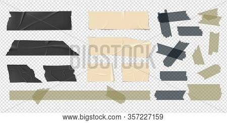 Adhesive Tape. Scotch Strips, Packaging Stickers. Isolated Realistic Black Beige Sellotape Patch. Co