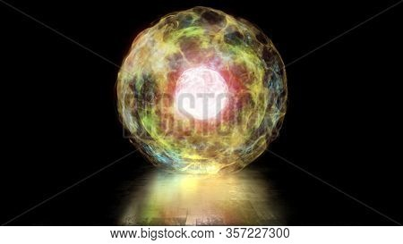 3d Rendering Ball Of Energy And Plasma In The Core Of The Reactor. Thermonuclear Fusion With Pulsati