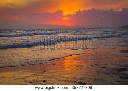 Beautiful Beach Sunset Side Turkey
