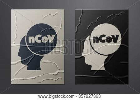 White Corona Virus 2019-ncov Icon Isolated On Crumpled Paper Background. Bacteria And Germs, Cell Ca