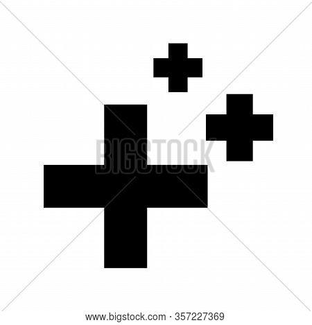 Glyph Health Regeneration Symbol Crosses On White Background. Three Geometric Black Shape. Healing S