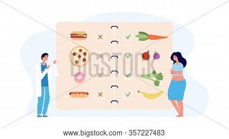 Dietology Concept. Doctor And Overweight Patient, Healthy And Unhealthy Menu. Obesity, Food Addictio