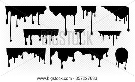 Dripping Ink. Melting Paint, Liquid Drops Black Oil. Isolated Splashes, Graffiti Elements. Spray Str