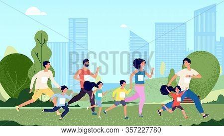 Family Marathon. People Jogging, Woman Kids Sport Lifestyle. Parents And Children Healthy Outdoors E