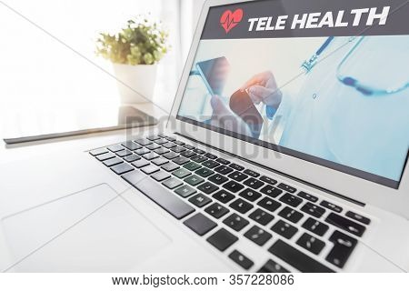 Telemedicine Or Telehealth Concept On Laptop Screen
