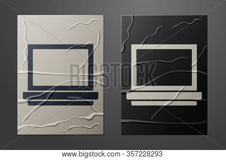 White Makeup Powder With Mirror Icon Isolated On Crumpled Paper Background. Paper Art Style. Vector
