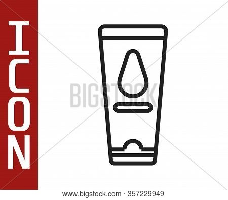 Black Line Personal Lubricant Icon Isolated On White Background. Lubricating Gel. Cream For Erotic S