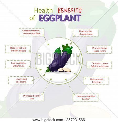 Health Benefits Of Egg Plant. Egg Plants Nutrients Infographic Template Vector Illustration