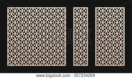 Laser Cut Panel. Vector Template, Abstract Geometric Pattern In Oriental Style. Elegant Grid, Mesh,