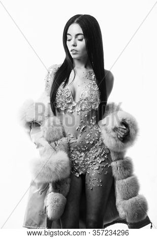 Woman Attractive Nude Body Shimmering Lingerie Wear Fur Coat. Fashion Concept. Female With Makeup We
